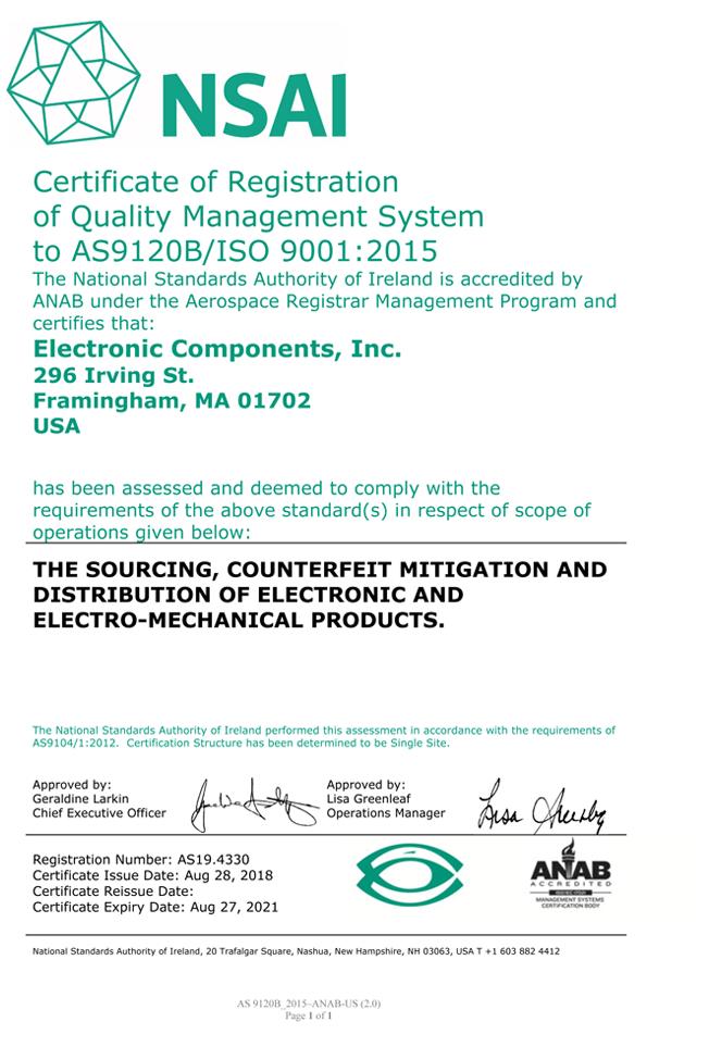 NSAI AS9120B/ISO 9001:2015